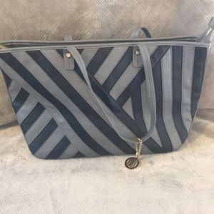 Large Antonio Melani Grey Black Purse Handbag